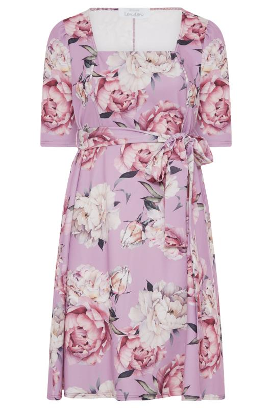 YOURS LONDON Lilac Floral Square Neck Dress_F.jpg
