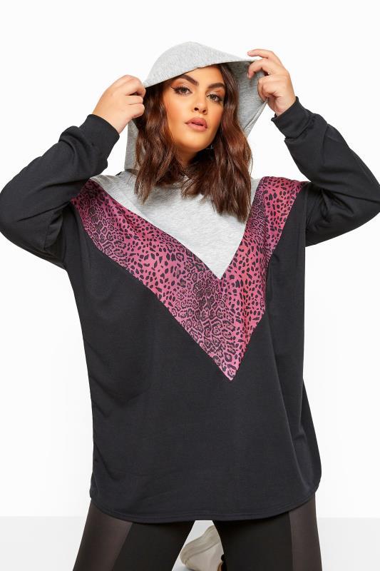 Black & Pink Leopard Colour Block Chevron Hoodie