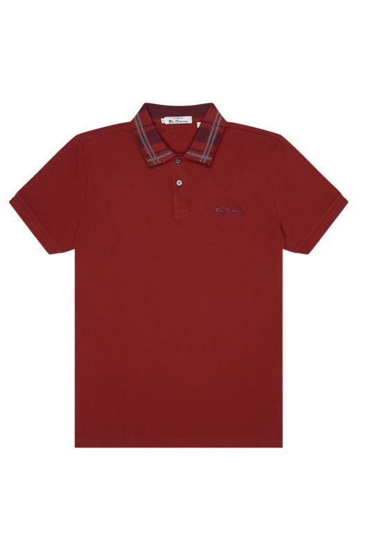 Plus Size  BEN SHERMAN Red Check Collar Interest Polo Shirt