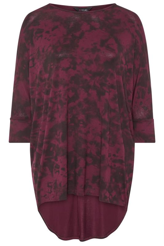 Berry Red Tie Dye Extreme Dipped Hem Top