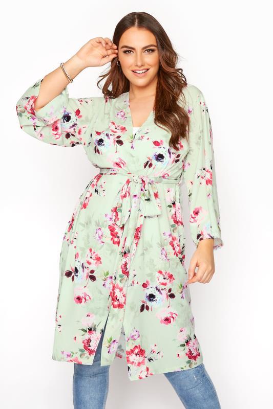 YOURS LONDON Sage Green Floral Kimono