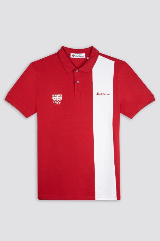 Großen Größen  BEN SHERMAN Red Official Olympic Block Stripe Polo