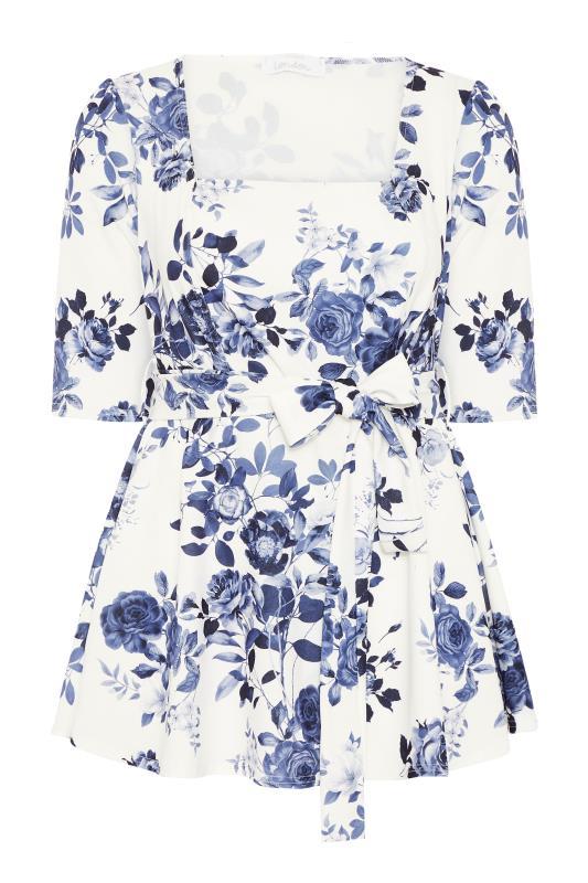 YOURS LONDON Blue Flower Square Neck Peplum Top_F.jpg