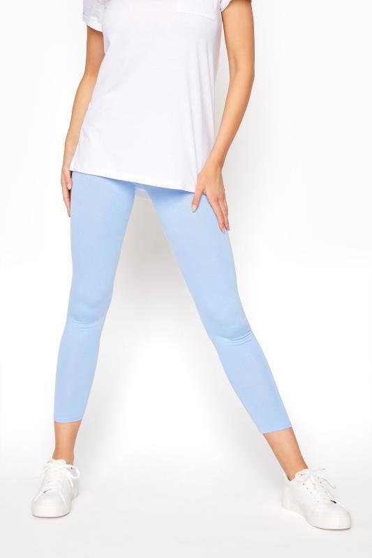 Blue Cropped Jersey Leggings