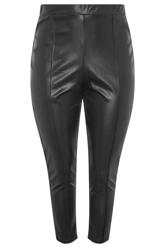 YOURS LONDON Black Leather Look Trousers_F.jpg