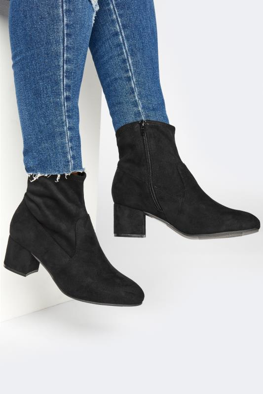 Plus Size  Black Faux Suede Stretch Block Heeled Boots In Extra Wide Fit