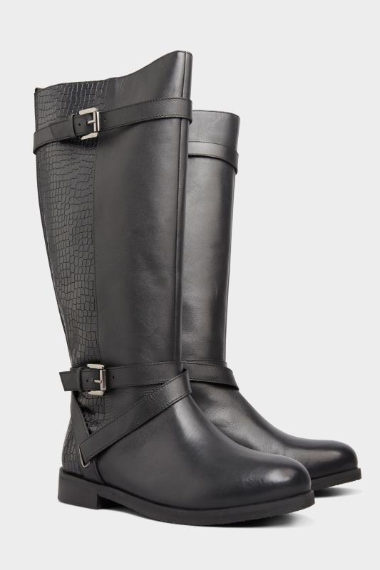 Black Leather Buckle Calf Knee High Riding Boots In Extra Wide Fit_B.jpg