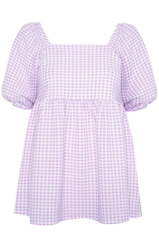 LIMITED COLLECTION Lilac Gingham Milkmaid Top_F.jpg
