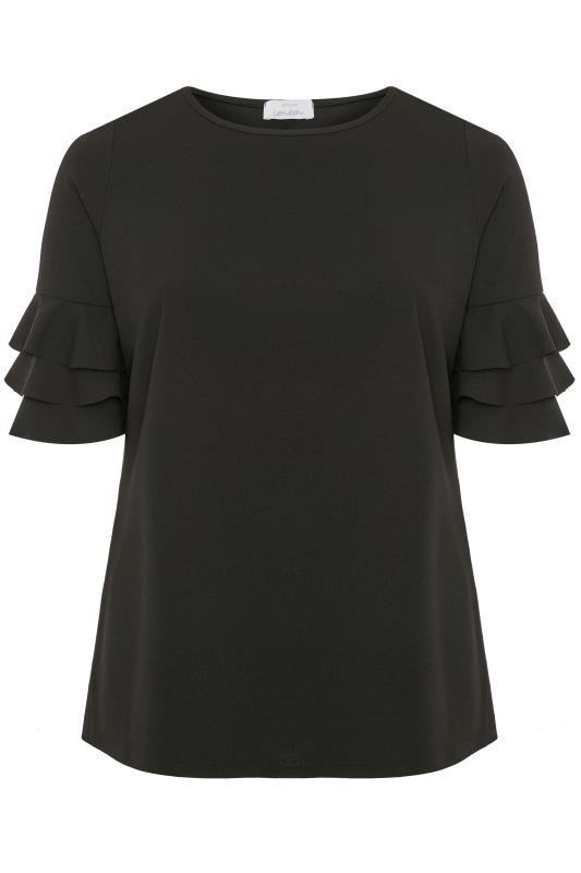 Plus Size Party Tops YOURS LONDON Black Layered Frill Sleeve Top