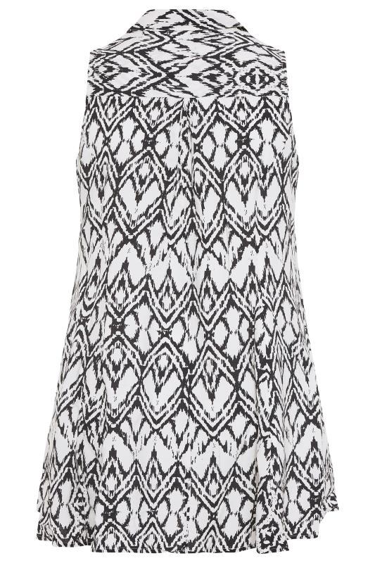 White Aztec Print Dipped Hem Sleeveless Shirt_bk.jpg