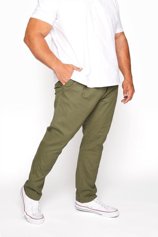 Men's  BadRhino Khaki Elasticated Waist Rugby Trousers