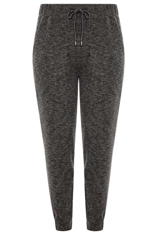 Charcoal Grey Marl Metallic Drawstring Brushed Joggers