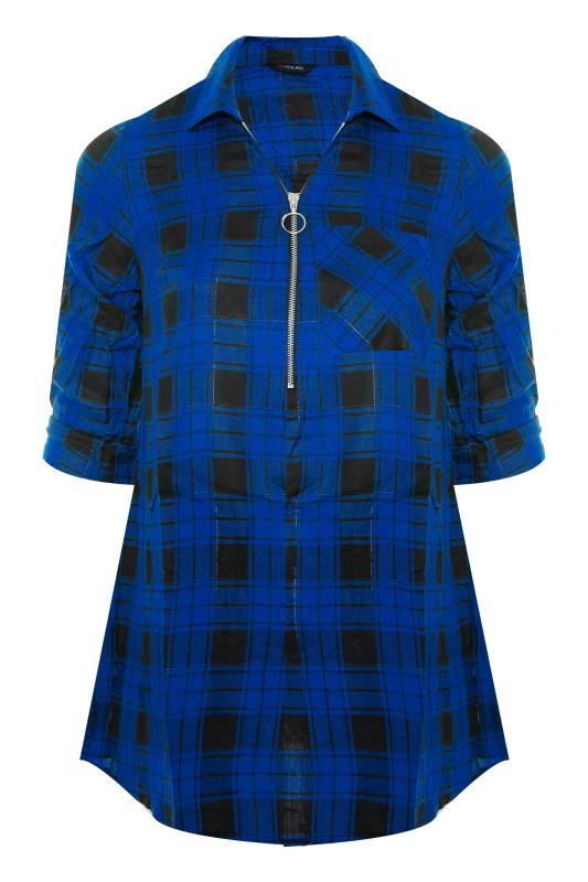 Cobalt Blue Zip Check Shirt_F.jpg