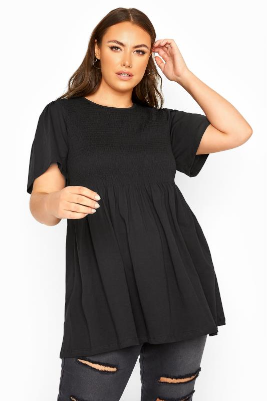 LIMITED COLLECTION Black Cotton Shirred Peplum Top