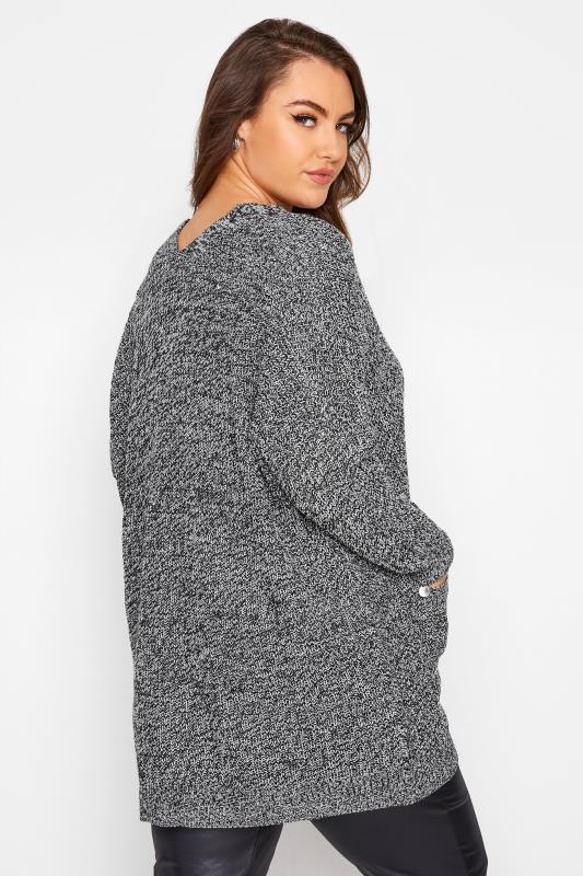 Grey Mono Button Knitted Cardigan_C.jpg