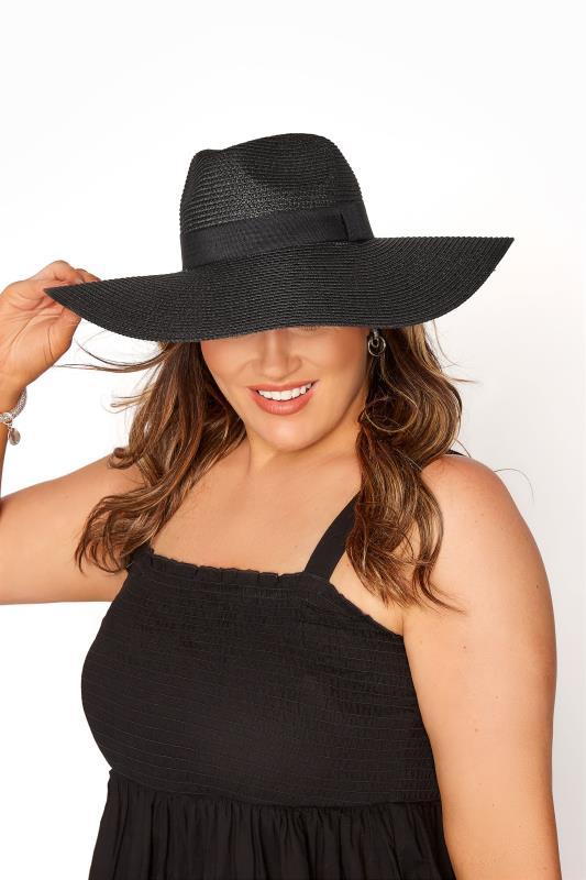 Grande Taille Black Straw Wide Brim Fedora Hat