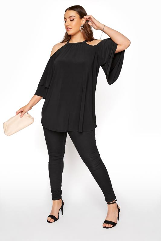 LIMITED COLLECTION Black Frill Cold Shoulder Top