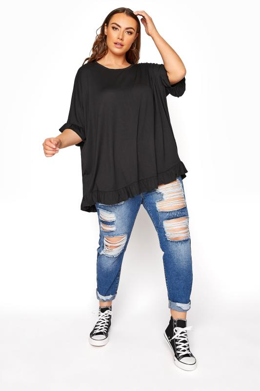 LIMITED COLLECTION Black Frill Jersey T-Shirt_B.jpg