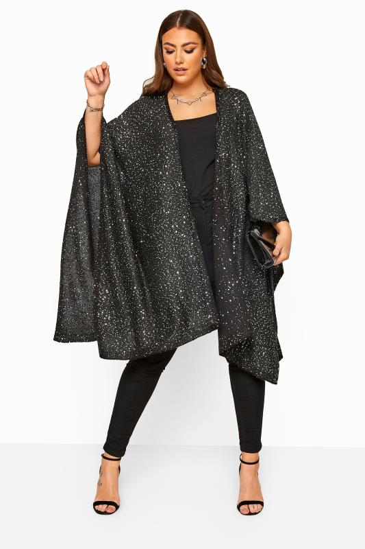 Plus Size Wraps Black Sequin Embellished Knitted Cape