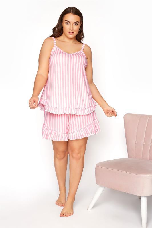 LIMITED COLLECTION Pink Stripe Frill Pyjama Top_B.jpg