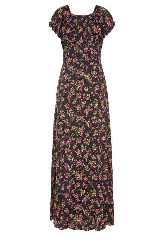 LTS Black Floral Puff Sleeve Corset Maxi Dress_bk.jpg