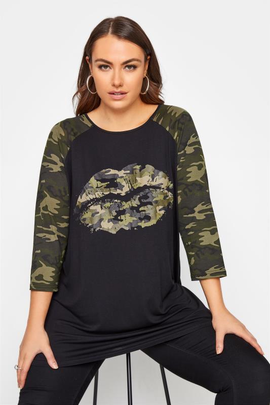 Plus Size  Black Camo Lips Raglan T-Shirt