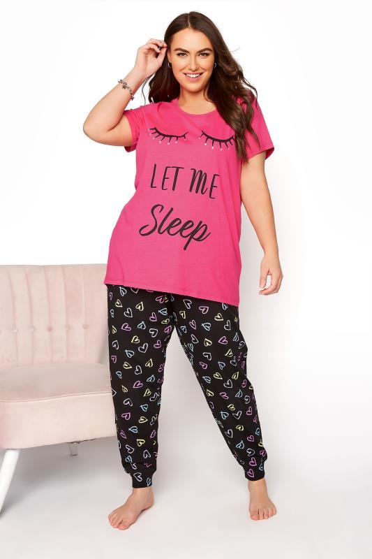 Pink 'Let Me Sleep' Dipped Back Pyjama Top_B.jpg