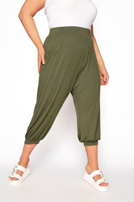 Plus Size  Khaki Cropped Jersey Joggers
