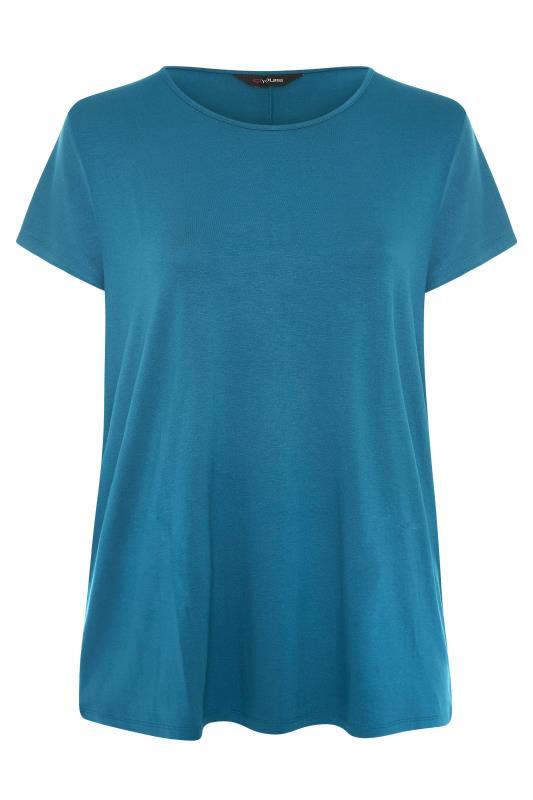 Teal Blue Dipped Hem T-Shirt_F.jpg
