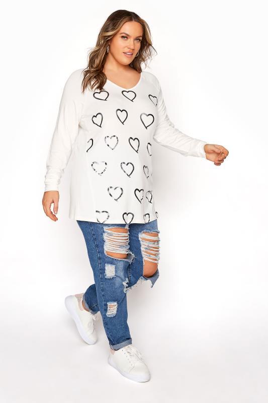 White Foil Heart Print Long Sleeve T-Shirt_B.jpg