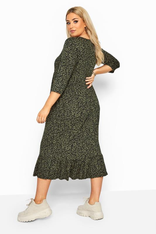 LIMITED COLLECTION Khaki Leopard Print Midi Smock Dress