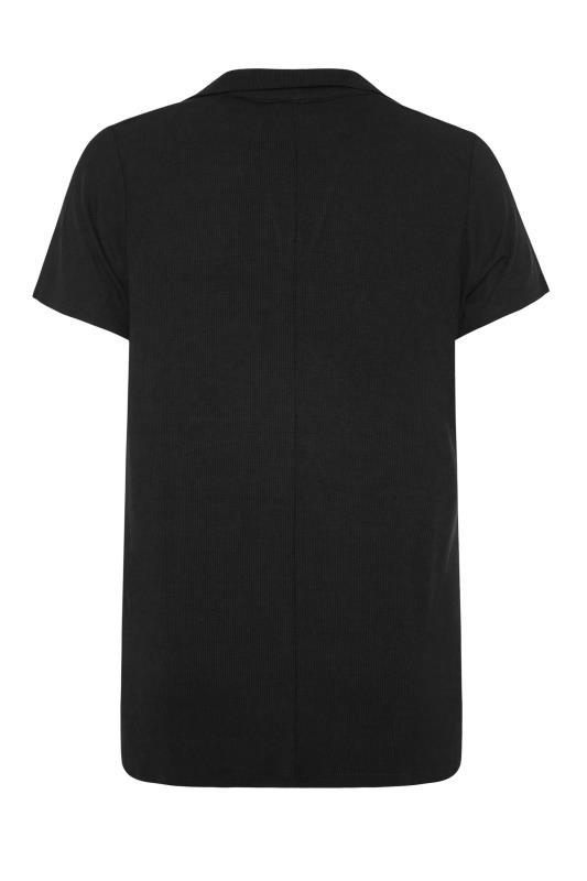 Black Ribbed V-Neck Polo Top_BK.jpg