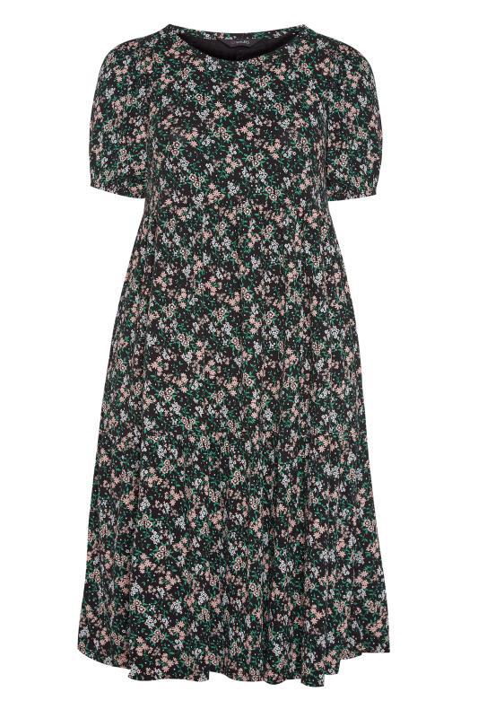 Black Floral Puff Sleeve Midaxi Dress_F.jpg