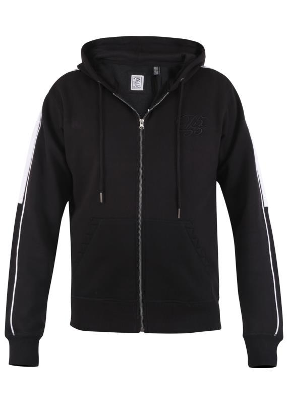 D555 Black Couture Stripe Sleeve Zip Through Hoodie_F.jpg
