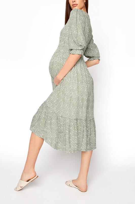 LTS Maternity Sage Green Ditsy V-Neck Button Tiered Midi Dress_C.jpg