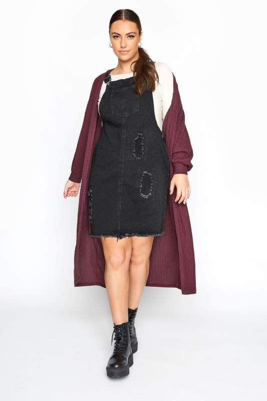 Plus Size  LIMITED COLLECTION Charcoal Grey Distressed Pinafore Dress