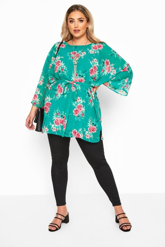 Plus Size Floral Tops YOURS LONDON Turqoise Floral Belted Blouse
