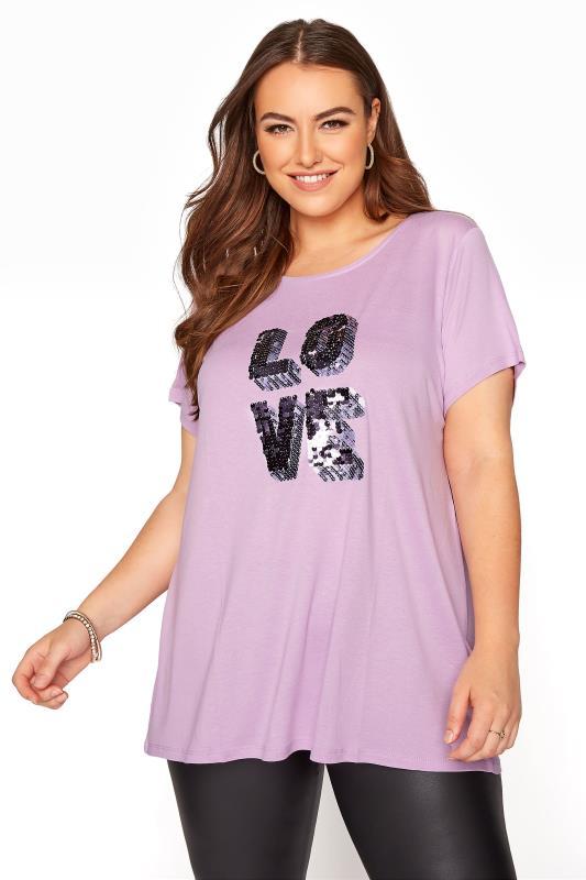 Großen Größen  Lilac 'Love' Sequin Slogan T-Shirt