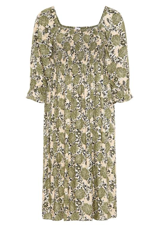 YOURS LONDON Green Shirred Front Floral Midaxi Dress_F.jpg