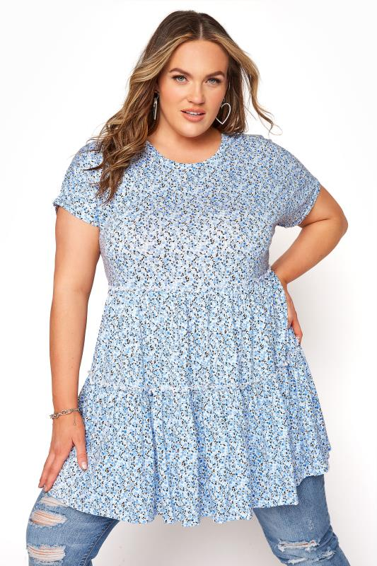 Plus Size  Blue Ditsy Floral Tiered Smock Tunic