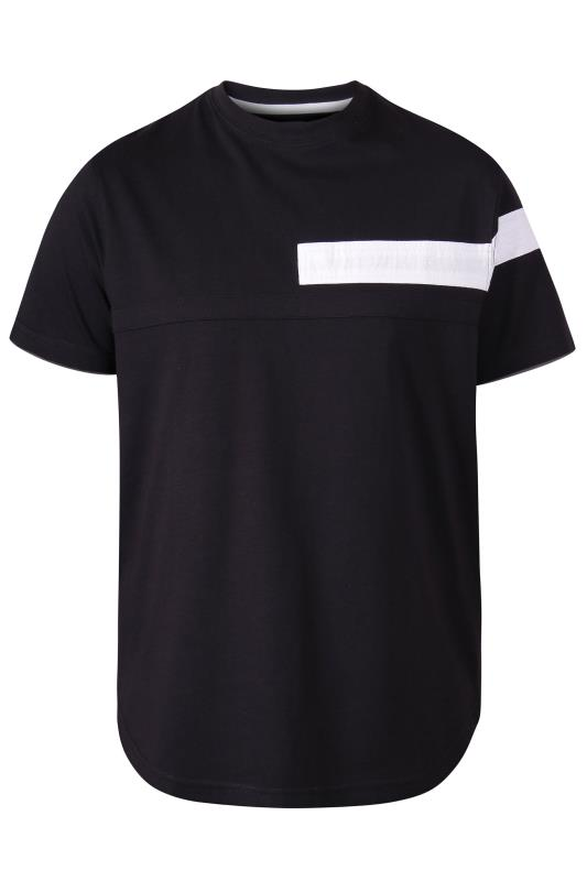 Men's  D555 Black Couture Cut And Sew Curved T-Shirt
