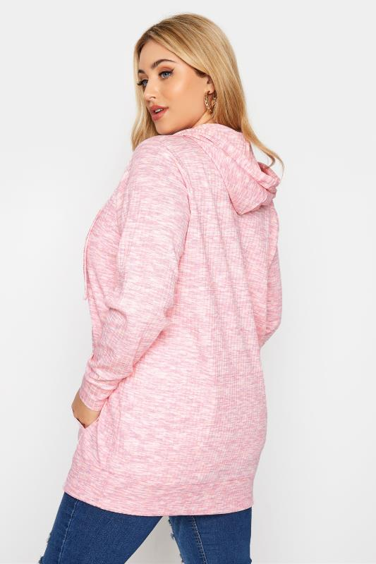 Pink Marl Ribbed Zip Through Hoodie_C.jpg