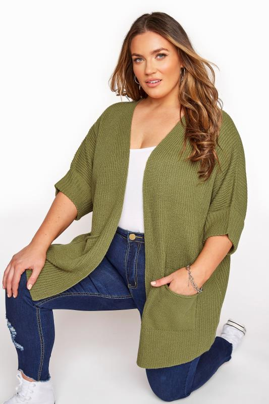 Plus Size  Khaki Turn Up Sleeve Cardigan