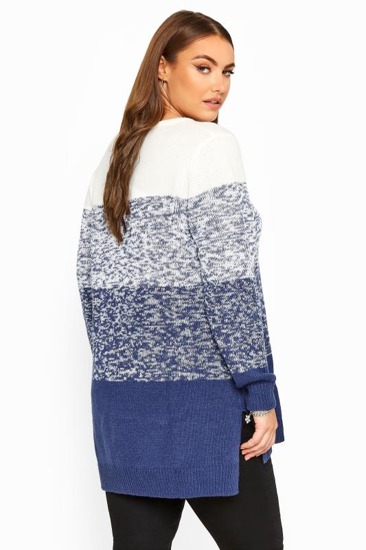 Blue Twist Colour Block Knitted Jumper