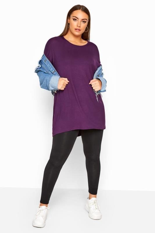 Purple Dipped Hem Top