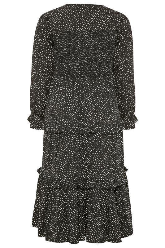 LIMITED COLLECTION Black Dalmatian Shirred Tiered Frill Midi Dress_BK.jpg