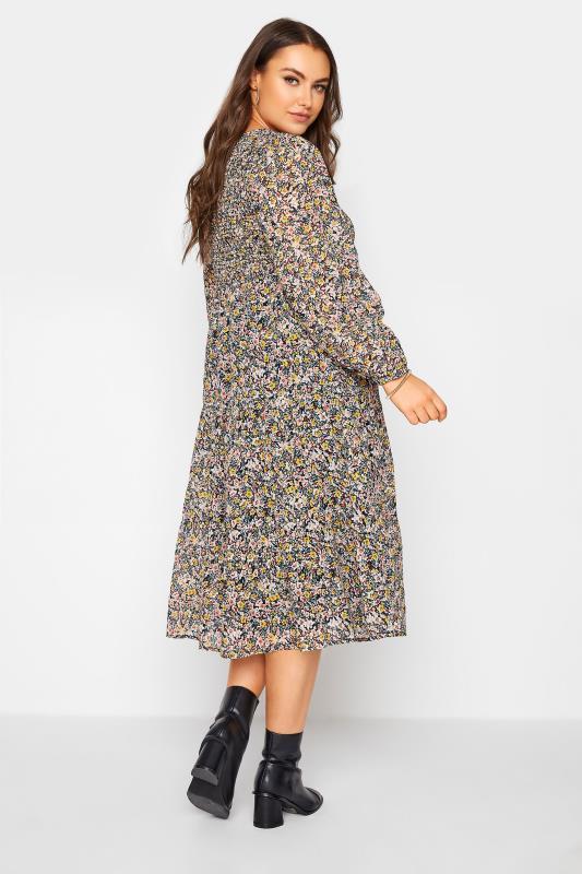 Navy Floral Shirred Midi Dress_C.jpg