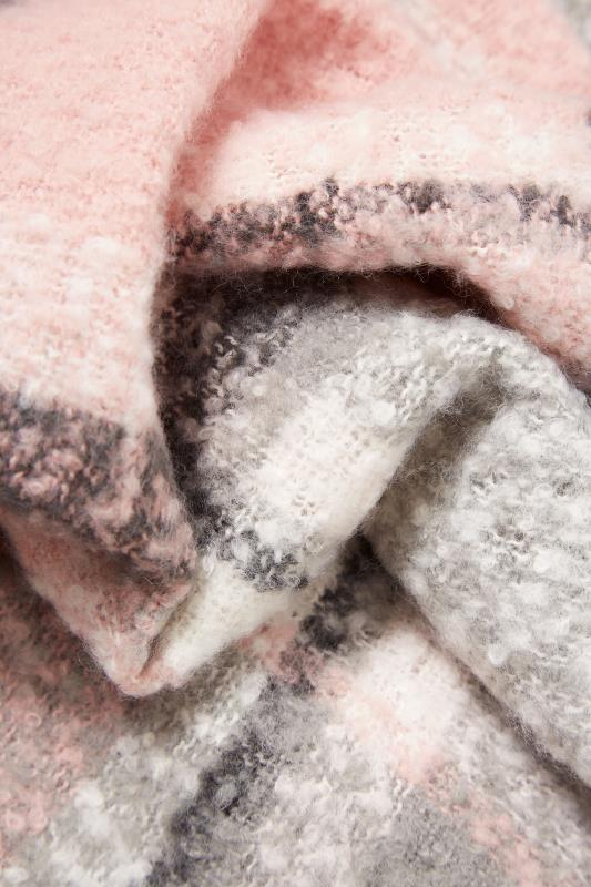 Pink & Grey Soft Boucle Check Scarf_D.jpg