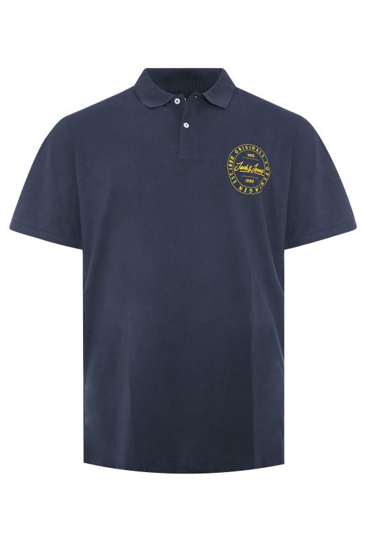 JACK & JONES Navy Cotton Pique Polo Shirt
