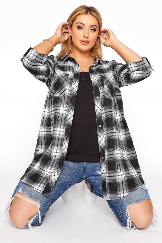 Plus Size  Black Check Cotton Boyfriend Shirt